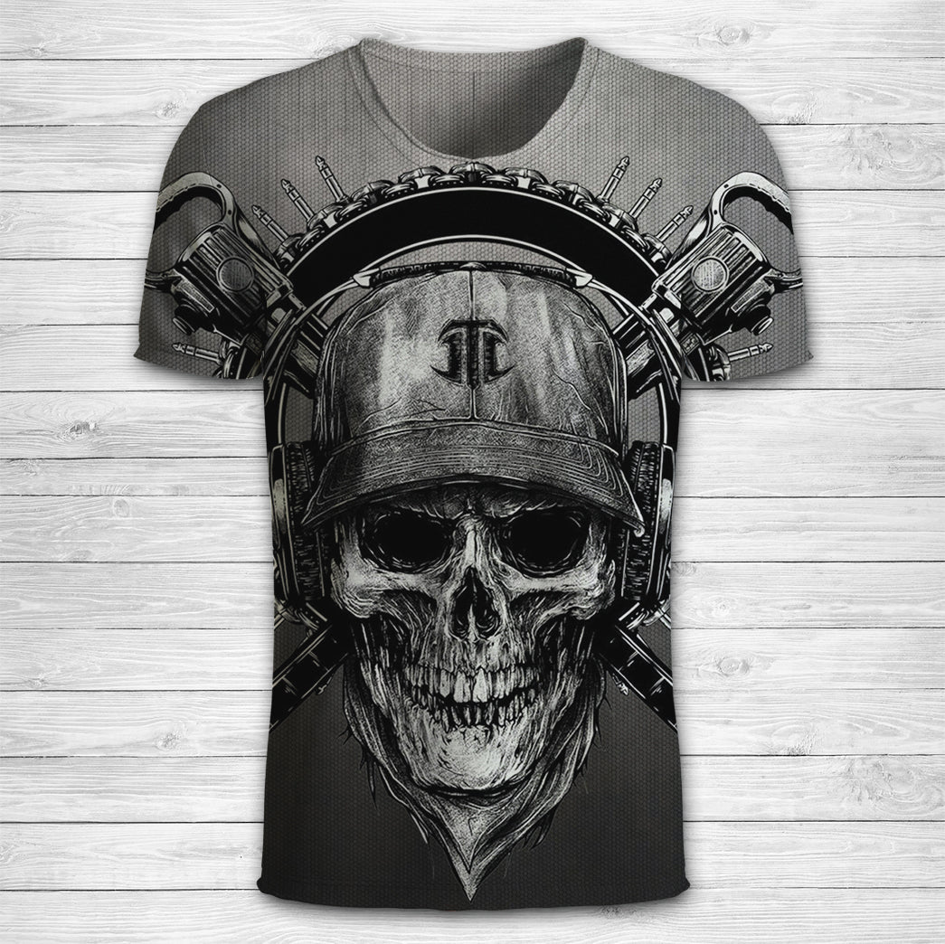 3D Black SKull and Sword Print T-Shirt 017