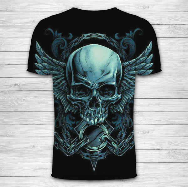Green Skull Angel Wings Unisex T-Shirt 018