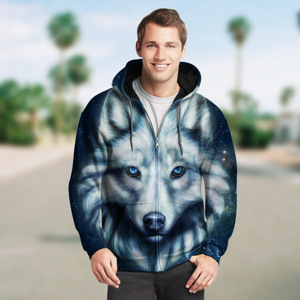 New Fashion Zip Up Hoodies - White Wolf 001 - designfullprint