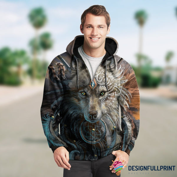 3D Wolf Art Zip Up Hoodie 001 - designfullprint