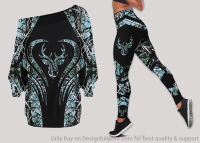 Deer Hunter Off Shoulder Long Sleeves Top and Leggings Set