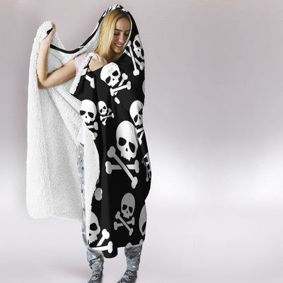 Skull and Crossbone Hooded Blanket