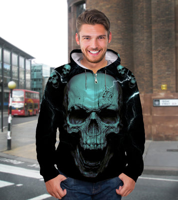 3D Teal Skull Unisex Zip up Hoodie 007 - designfullprint