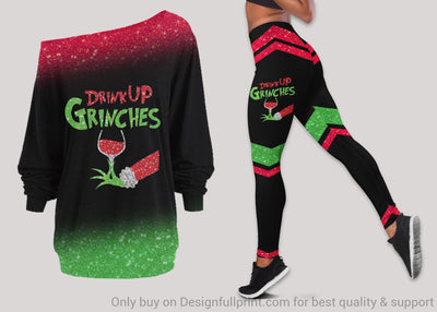 Drink Up GRH Green Hand With Glass of Wine Xmas Christmas Off Shoulder Long Sleeves Top and Leggings Set Grinche