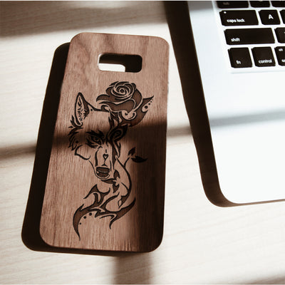 Wood Phone Case for Universal Models -Wolf and Rose 004 - designfullprint