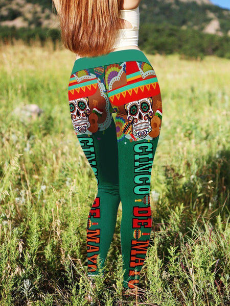 Cinco de Mayo Mexican Skull 3D Leggings/Sweat Pants 004