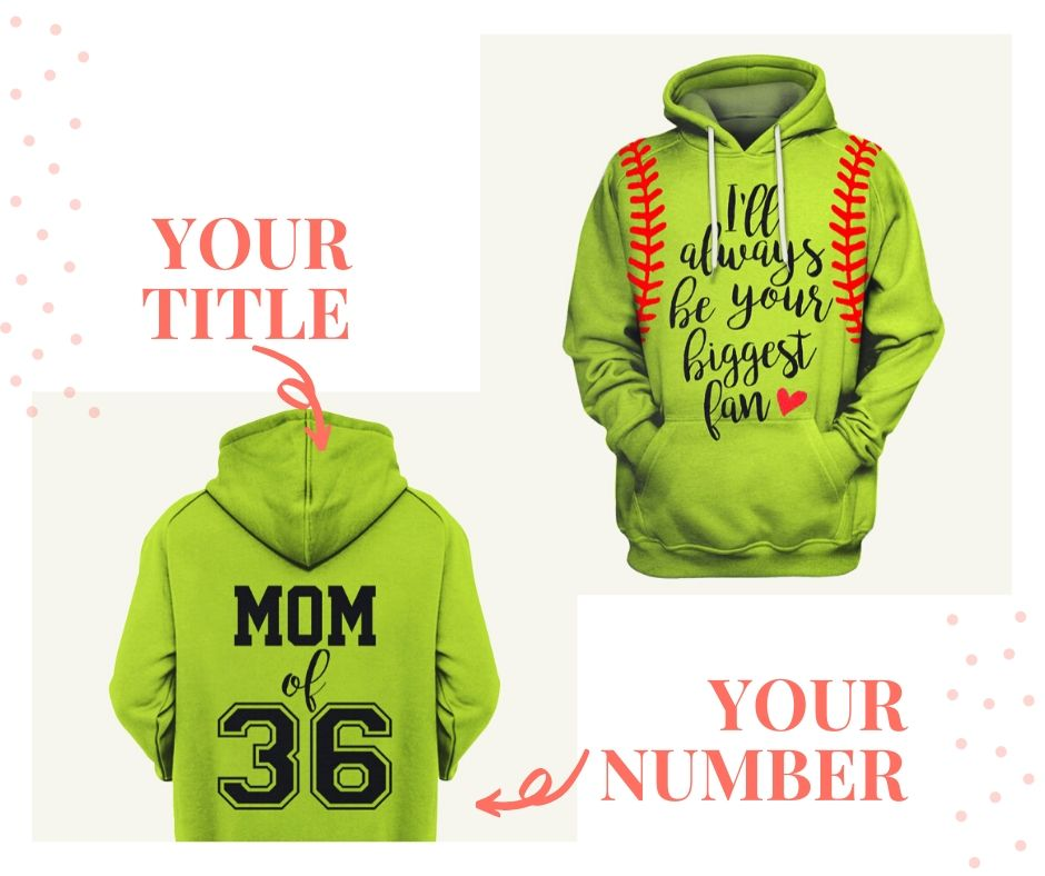 Personalized Softball Mom US Unisex Size Hoodie