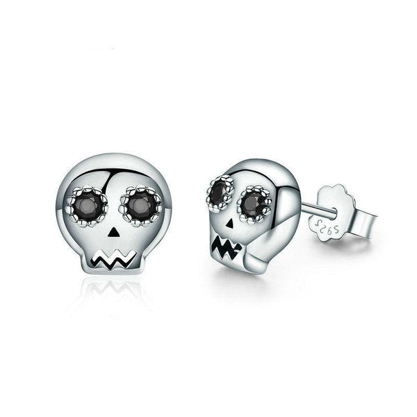 925 Sterling Silver CZ Skull Earrings