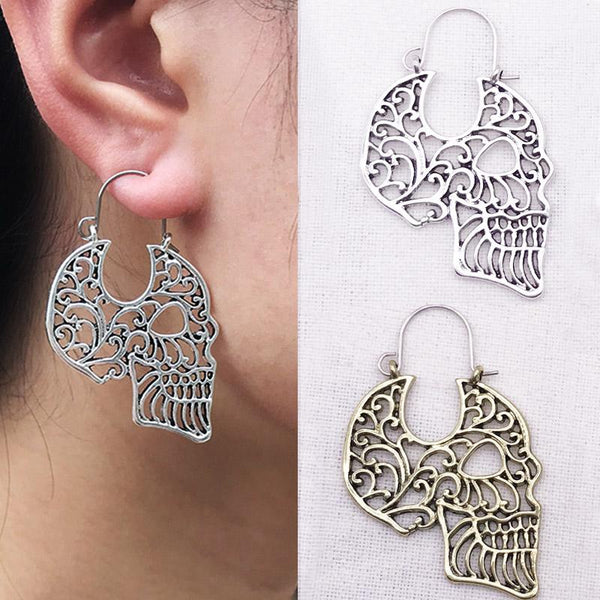 Gypsy Hollow Skull Tribal Hoop Earrings