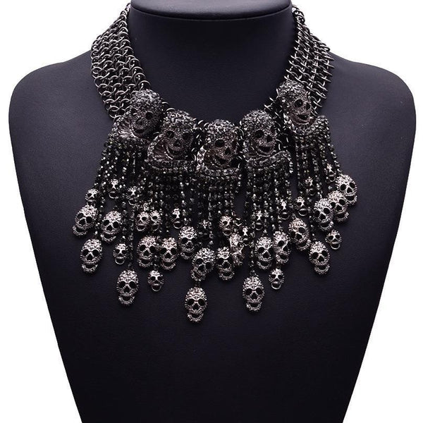 Skeleton Head Collar Skull Necklace - designfullprint