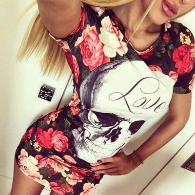 Skull Bodycon Flower Floral Dress - designfullprint