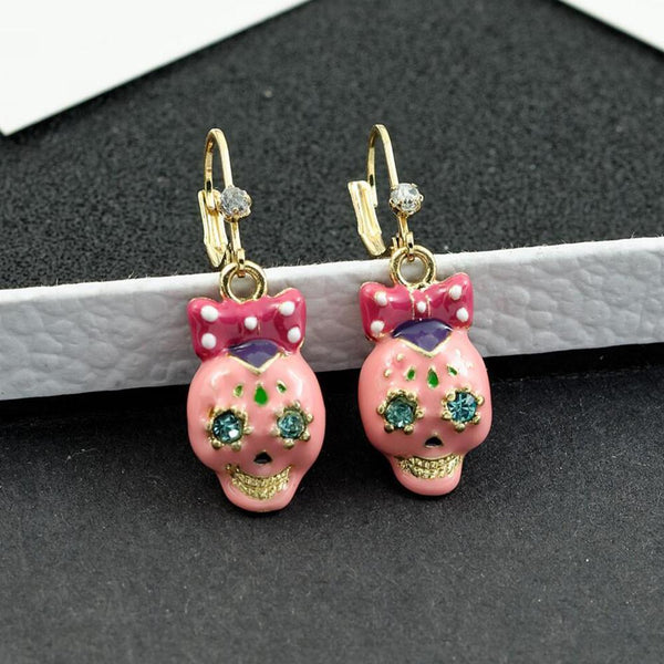 Halloween Pink Bow Skull Earrings