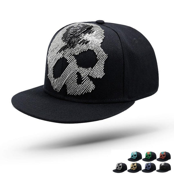 Metal Skeleton Rivet Snapback Cap For Men Gorras Baseball Hat Skull Head