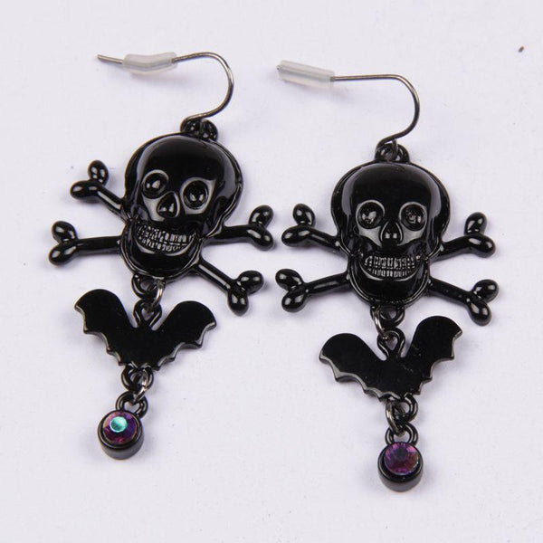 Halloween Pirate Skull Bat Wings Earrings