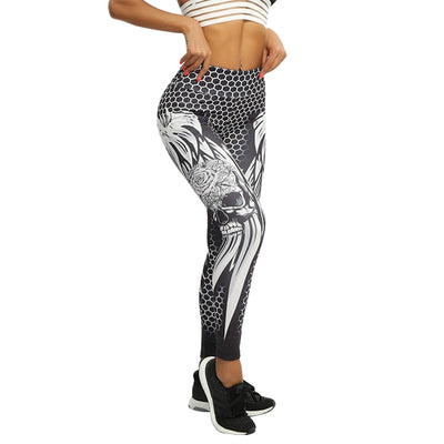 High Waist Honeycomb Skull Wings Sexy Fashion  Women Fitness Leggings