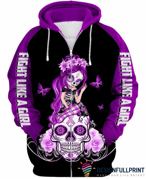 Light Purple Lupus Awareness Sugar Skull Zipup/ Pullover Hoodie T-shirt Sweatshirt
