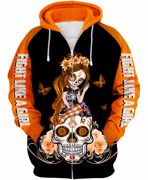 Orange Leukemia Sugar Skull Girl Awareness Zipup/ Pullover Hoodie T-shirt Sweatshirt