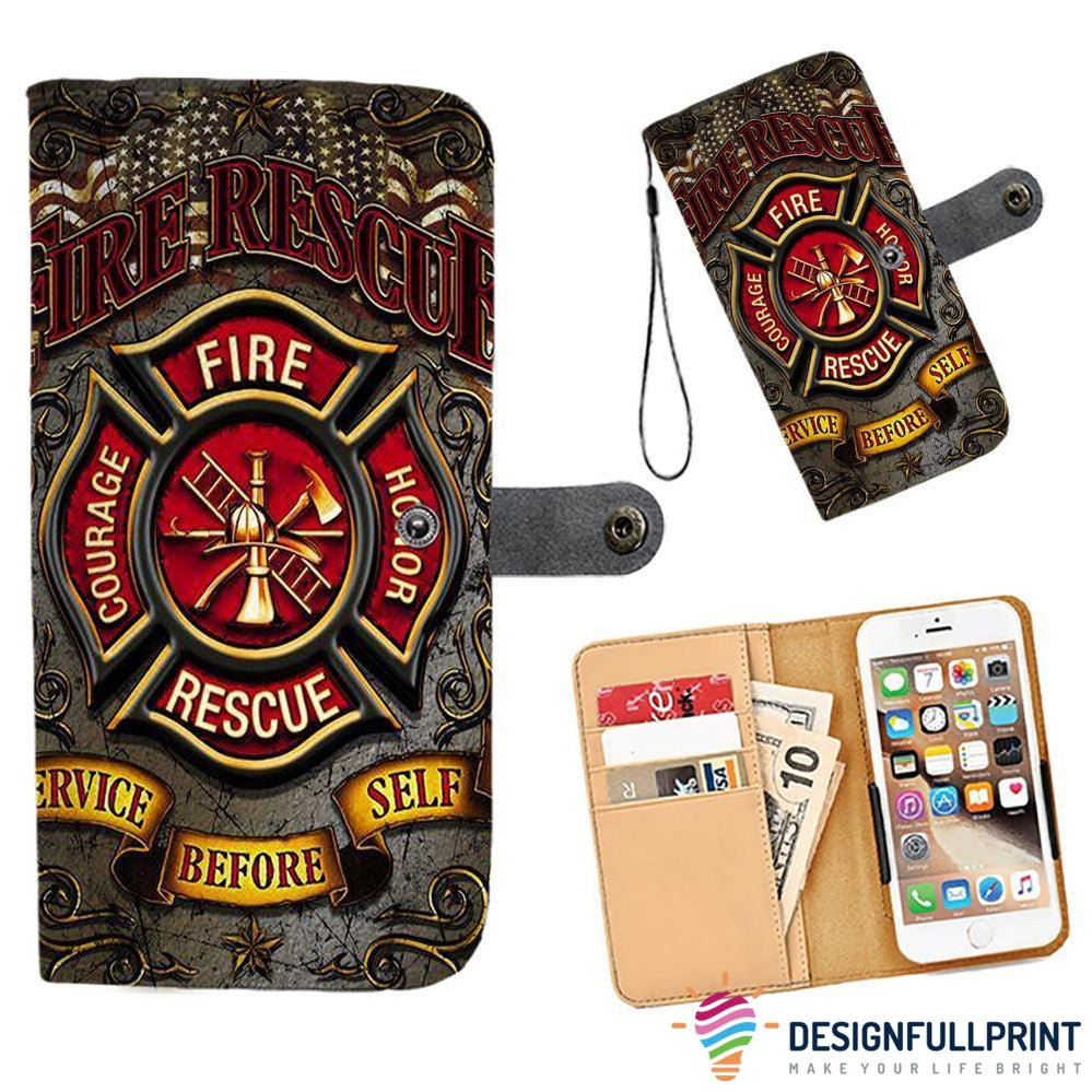Cell Phone Wallet Case for Universal Models - Fire Rescue FireFighter