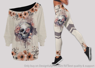 Floral Skull Off Shoulder Long Sleeves Top and Leggings Set