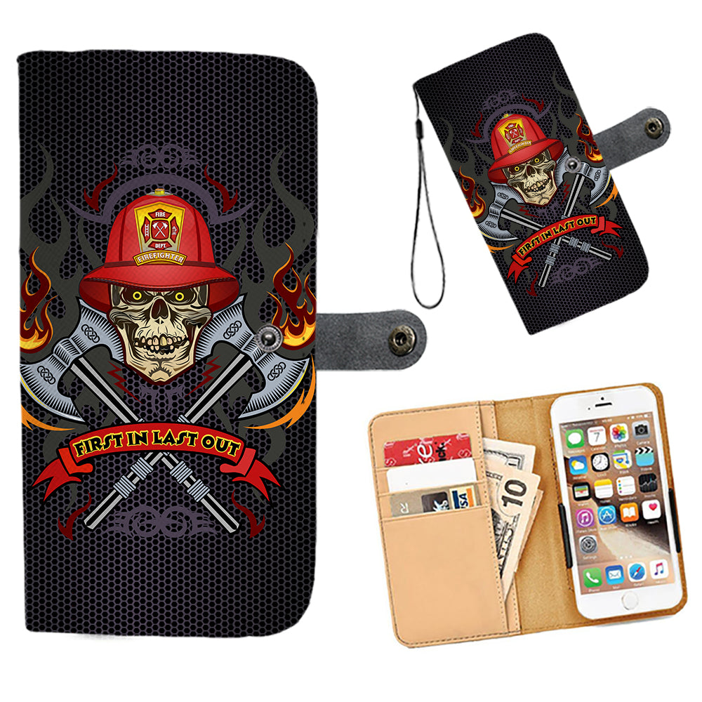 Cell Phone Wallet Case for Universal Models - Fire Dept FireFighter Fire Rescue 002