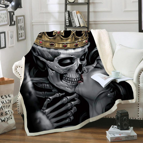 Limited Edition King and Queen Skull Sofa Throw Blanket