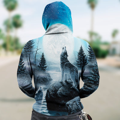 New Fashion Zip Up Hoodies - Howling Wolves and the Moon 002 - designfullprint
