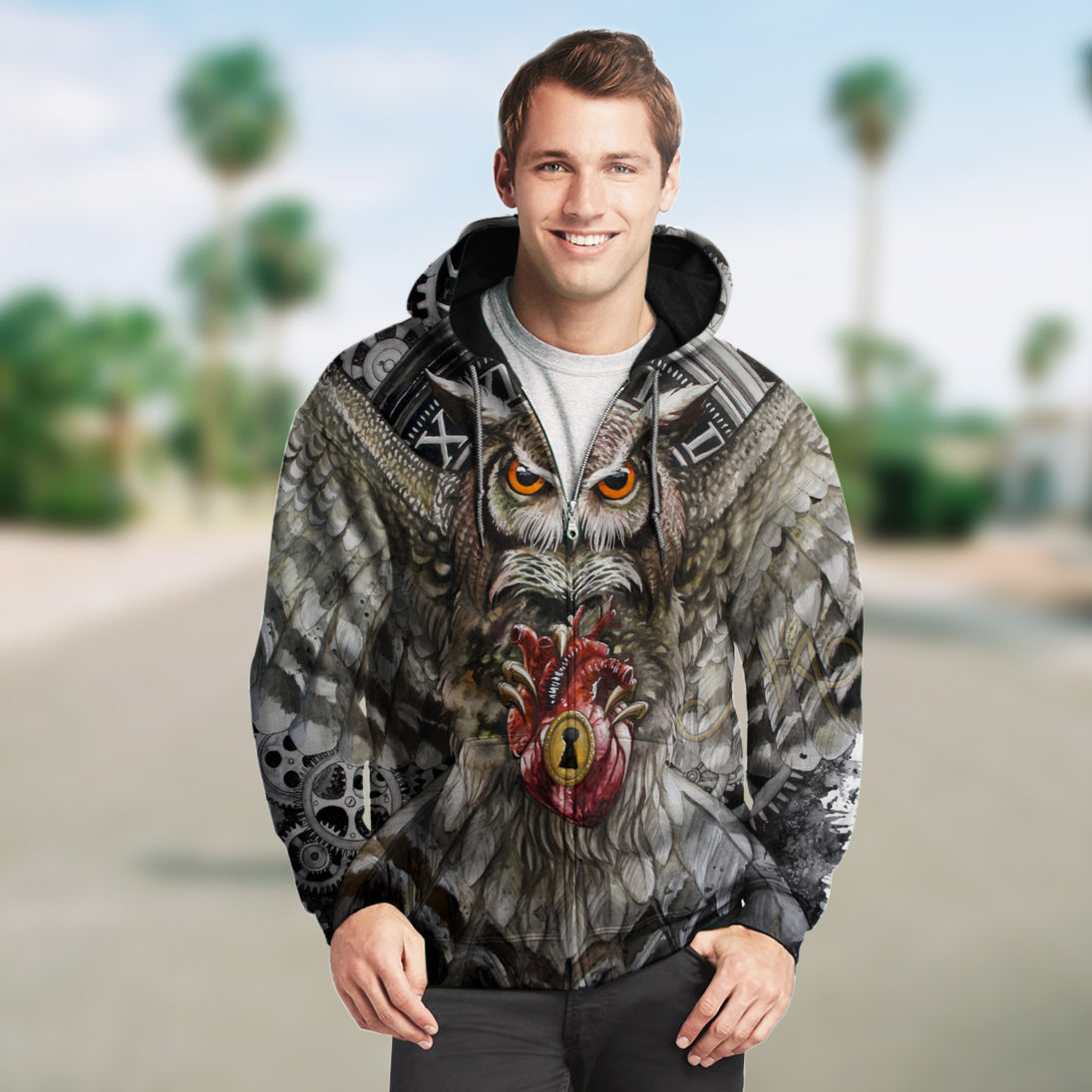 3D Owl Heart Zip Up Hoodie 001 - designfullprint