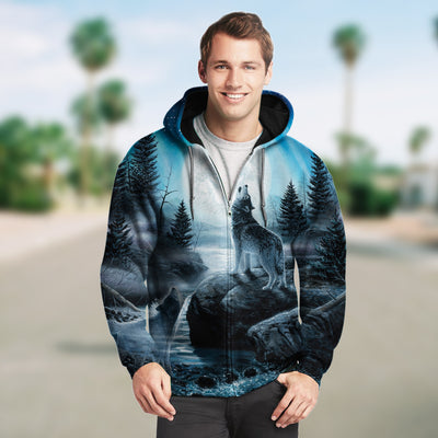 New Fashion Zip Up Hoodies - Howling Wolves and the Moon 002