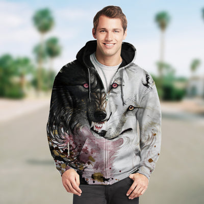 New Fashion Zip Up Hoodies - Black and White Wolves 008