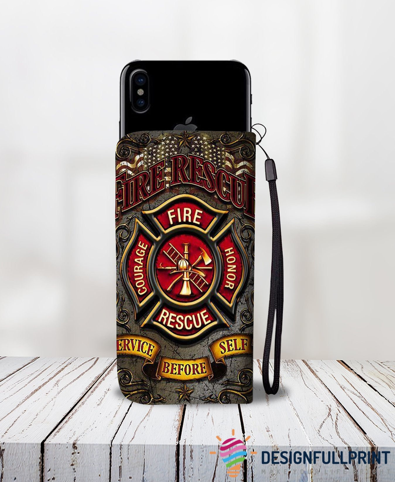 Cell Phone Wallet Case for Universal Models - Fire Rescue FireFighter - designfullprint