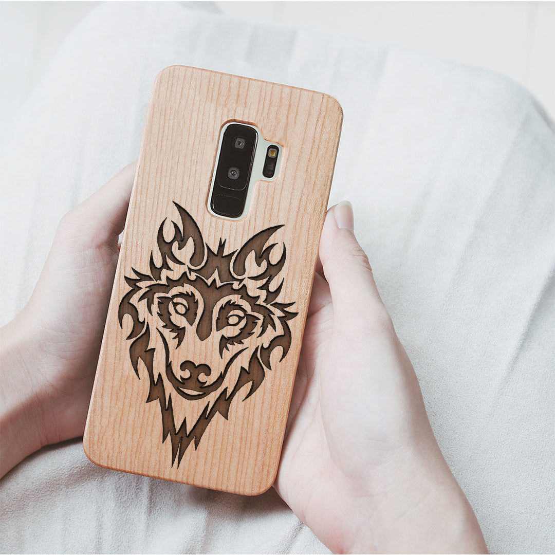 Wood Phone Case for Universal Models - Wolf Head 005