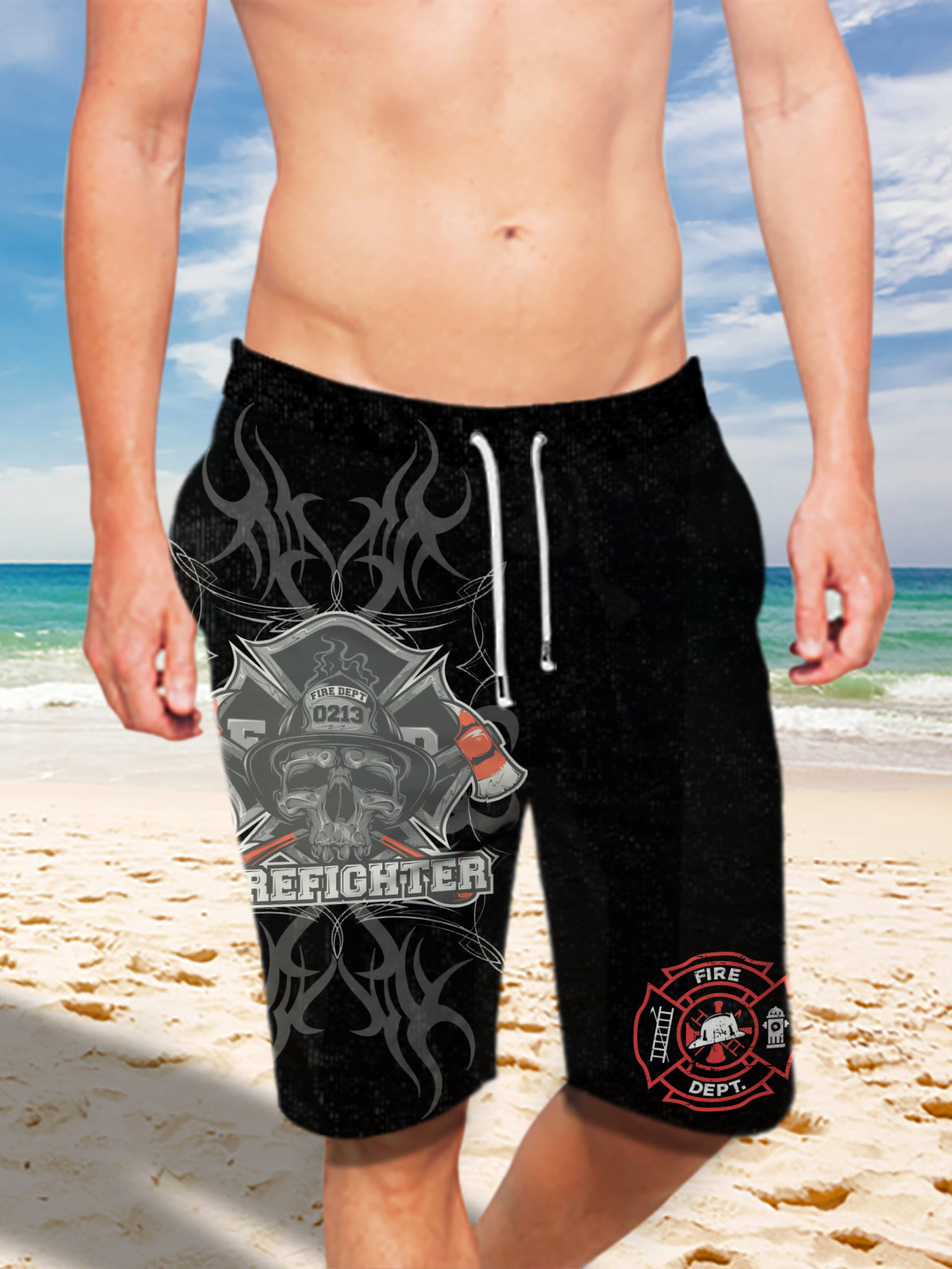 Ultra-light Drawstring Shorts for Men - FIRE DEPT. Firefighter 003