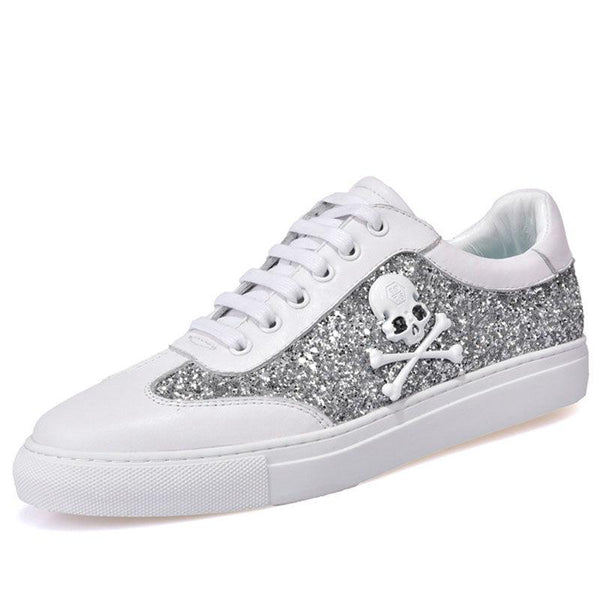 Glitter Sequins Skull Skateboarding Leather Sneakers