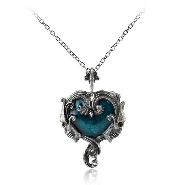 Gothic Skull Heart Pendant Choker Necklace