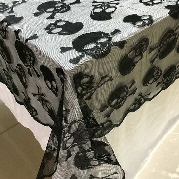 Black Lace Skull Tablecloth