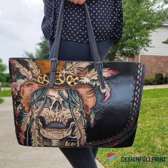 Skull Gift Skull And Feather Skull Leather Tote Bag HG