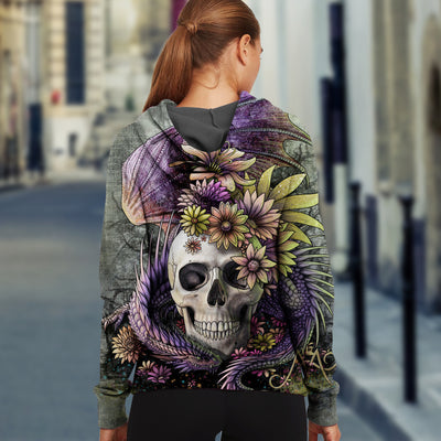 3D Skull and Dragon Unisex Zip up Hoodie 006 - designfullprint