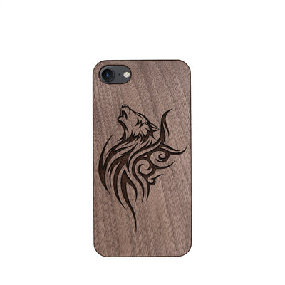 Wood Phone Case for Universal Models - Howling Lonely Wolf 003 - designfullprint