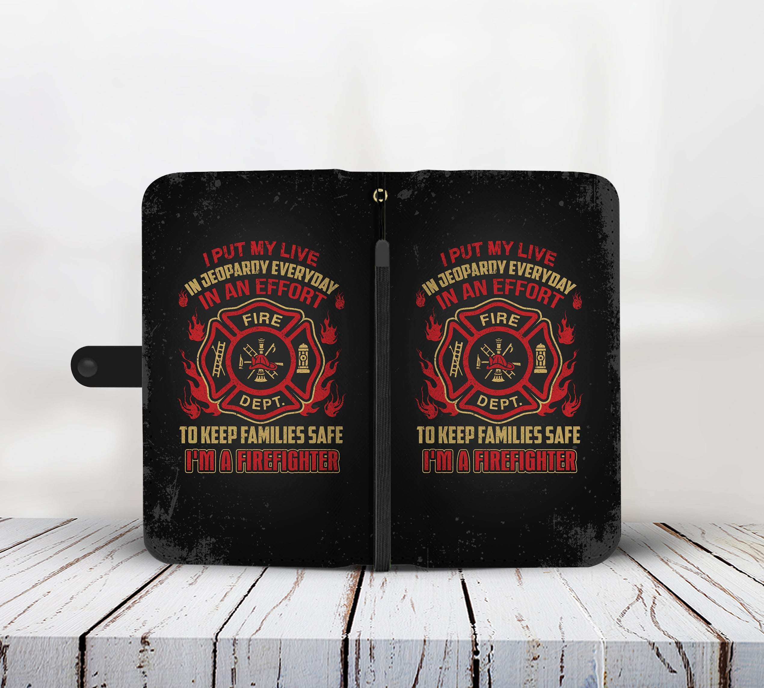 Cell Phone Wallet Case for Universal Models - Fire Dept FireFighter Fire Rescue 003