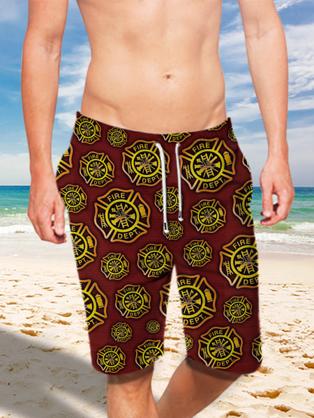 Ultra-light Drawstring Shorts for Men - FIRE DEPT. Firefighter 004 - designfullprint