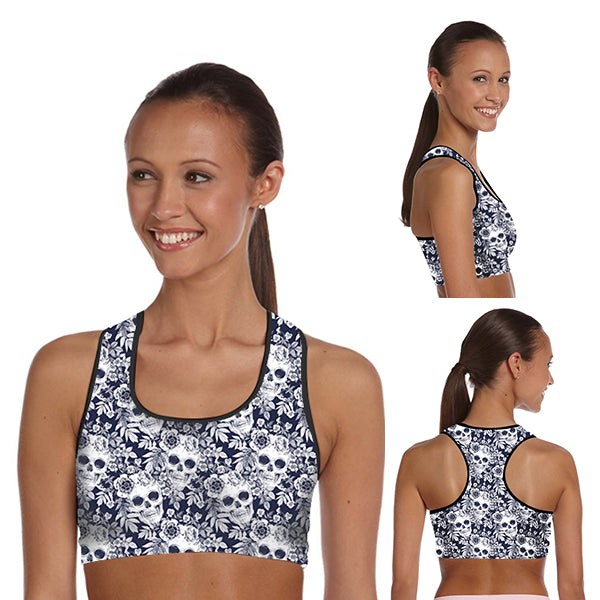 Padded Gym Fitness Sport 3D Blue Floral  skull Printed Athletic Bra 005