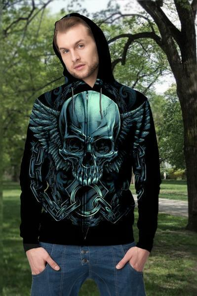 3D Green Skull Angel Wings Unisex Zip up Hoodie 005