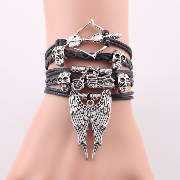 Arrow Skull Angel Wing Biker Leather Bracelets - designfullprint