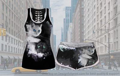 Yin Yang Cat Tank and Shorts Set