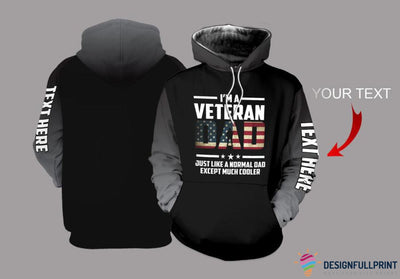 Veteran Dad Grey Sleeves Personalized US Unisex Size Hoodie