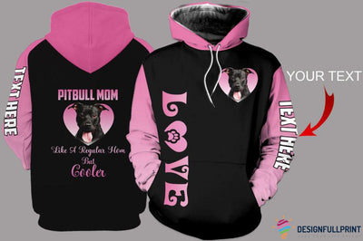 Pitbull Mom Personalized US Unisex Size Hoodie