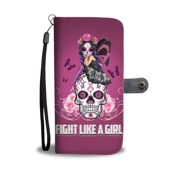 Pink Skull Fight Like A Girl Universal Wallet Case