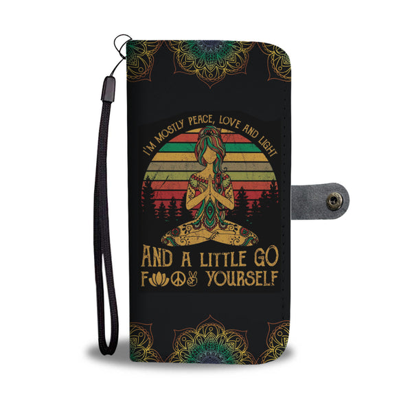 Im Mostly Peace Yoga Hippie Wallet Case