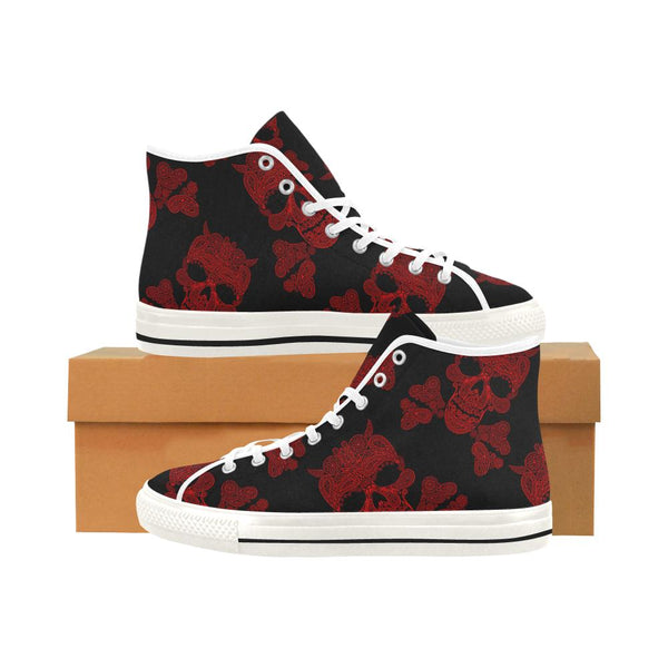 Devil Crossbone Skull Printed Women's High Top Shoes