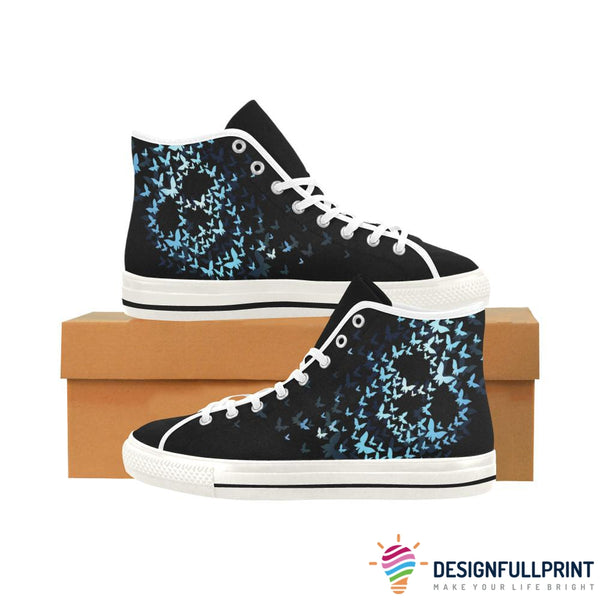 Blue Butterfly Skull Printed High Top Women's Shoes